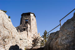 Harney Peak fire lookout. Mountain goat at the fire lookout station on Harney Peak Royalty Free Stock Photography