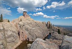 Harney Peak Fire Lookout Tower and pump house and small dam in Custer State Park in the Black Hills of SD Stock Image