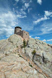 Harney Peak Fire Lookout Tower with stone masonry steps in Custer State Park in the Black Hills of South Dakota Stock Photo