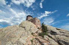 Harney Peak Fire Lookout Tower with stone steps in Custer State Park in the Black Hills of South Dakota Stock Photo
