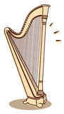 Harp vector. Illustration of a harp isolated on white background + vector eps file Stock Image