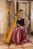 Harp artist Royalty Free Stock Image