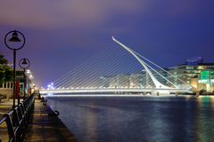 Harp bridge. Samuel Beckett Bridge in Dublin at night royalty free stock images