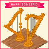 Harp flat isometric vector icon Stock Image