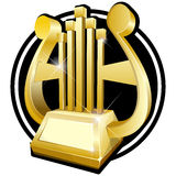 Harp. Gold award statuette Royalty Free Stock Image