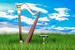 Harp in green grass against blue sky, 3d rendering. Harp in green grass against blue sky, 3d Royalty Free Stock Photo