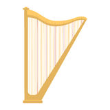 Harp icon golden stringed musical instrument classical orchestra art sound tool and acoustic symphony stringed fiddle Stock Photos