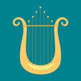 Harp icon golden stringed musical instrument classical orchestra art sound tool and acoustic symphony stringed fiddle vector illustration