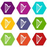 Harp Icon Set Color Hexahedron Stock Image