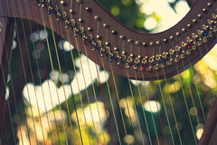 Harp instrument,Non-Pedal Harp. In abstract nature  background,retro filter effect Stock Photography