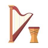 Harp la sinfonía acústica clásica atada de oro de la herramienta y del tambor del sonido del arte de la orquesta del instrumento  Fotos de archivo libres de regalías