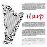 Harp with musical notes for infographics design Stock Image