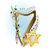 Harp with musical notes. Olives and star of David Stock Photos