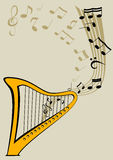 Harp and notes. Vector image of the Harp and lyre Royalty Free Stock Images