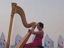 Harp Performance at Marina Bay Royalty Free Stock Photo