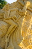 Harp player. Statue of a girl playing harp - Sand statues exhibition in Burgas, Bulgaria. The first ever Festival of sand sculptures in Bulgaria was held in the Stock Photo