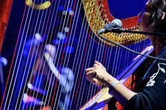 Harp player of The Barr Brothers (band) live performance at Bime Festival Royalty Free Stock Image