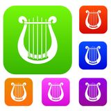 Harp set collection. Harp set icon in different colors isolated vector illustration. Premium collection Royalty Free Stock Images