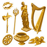 Harp, statue, weapons and other items of antiquity Stock Image