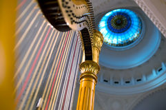 Harp strings close up. Classic music concert in synagogue stock images
