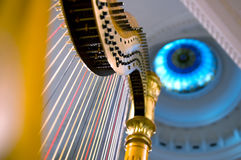 Harp strings close up Royalty Free Stock Photo