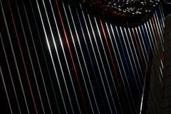 Harp strings close up. Harp instrument strings close up. Irish harp music stock photography