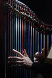 Harp strings. Close up hands. Closeup Harpist with Classical Music Instruments stock photography