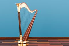 Harp on the wooden floor in the room, 3D rendering Royalty Free Stock Photography