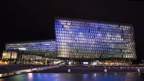 Harpa Concert hall hyper-lapse stock video