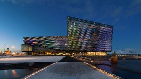 Harpa Concert Hall at night in Reykjavik Royalty Free Stock Photo