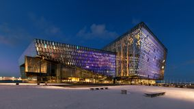 Harpa Concert Hall at night in Reykjavik Stock Photography