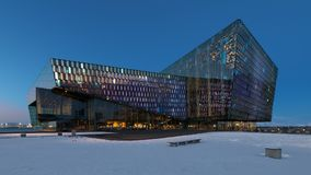 Harpa Concert Hall at night in Reykjavik Stock Photos