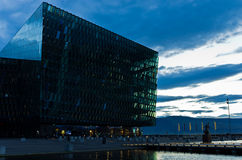 Harpa concert hall in Reykjavik harbor at sunrise, Iceland Royalty Free Stock Photography