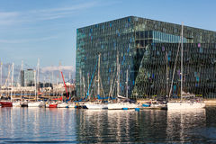 Harpa concert hall with sailboats, Reykjavik, Iceland Royalty Free Stock Image