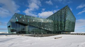 Harpa Concert Hall in winter in Reykjavik Royalty Free Stock Images