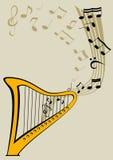 Harpa e notas Imagens de Stock Royalty Free