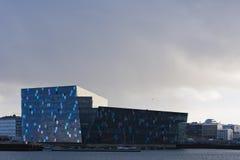Harpa Hall Rekjavik, Island Arkivbild