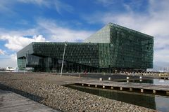 Harpa house in Reykjavik Iceland. Harpa musical glass in central Reykjavík on a beautiful summer day royalty free stock photography