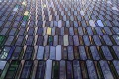 Harpa konserthallyttersida, Reykjavik, Island, Juli 2014 arkivfoto