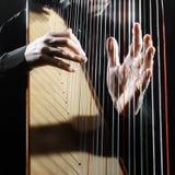 Harpan stränger closeuphänder arkivbilder