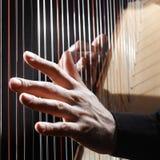 Harpan stränger closeuphänder royaltyfria foton