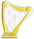 Harpe d'or Photos stock