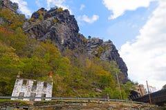 Harpers färjer järnvägtunnelen och Appalachian berg, West Virginia, USA arkivbilder