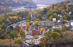 Harpers ferry at autumn (view from mountain) Royalty Free Stock Photos