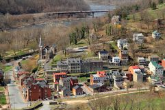 Harpers Ferry Landscape. Historic Harpers Ferry, at the confluence of the Shenandoah and Potomac Rivers in the state of West Virginia, is one of the most Stock Image