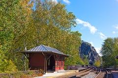 Harpers Ferry rail station platform, West Virginia, USA. Stock Photo