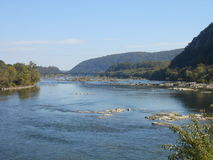 Harpers Ferry. A view of the intersection between rivers Potomac and Shenandoah, next to the historic city of Harpers Ferry Royalty Free Stock Images
