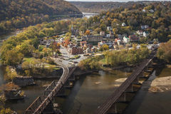 Harpers Ferry Viewed From Above. The historic town of Harpers Ferry, WV, a the confluence of the Potomac and Shenandoah Rivers,  as viewed from Maryland Heights royalty free stock image
