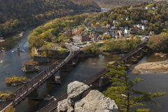 Harpers Ferry Viewed From Above. The historic town of Harpers Ferry, WV, a the confluence of the Potomac and Shenandoah Rivers, as viewed from Maryland Heights royalty free stock photos