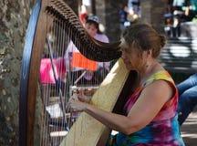 Harpist van de vrouw Stock Afbeelding